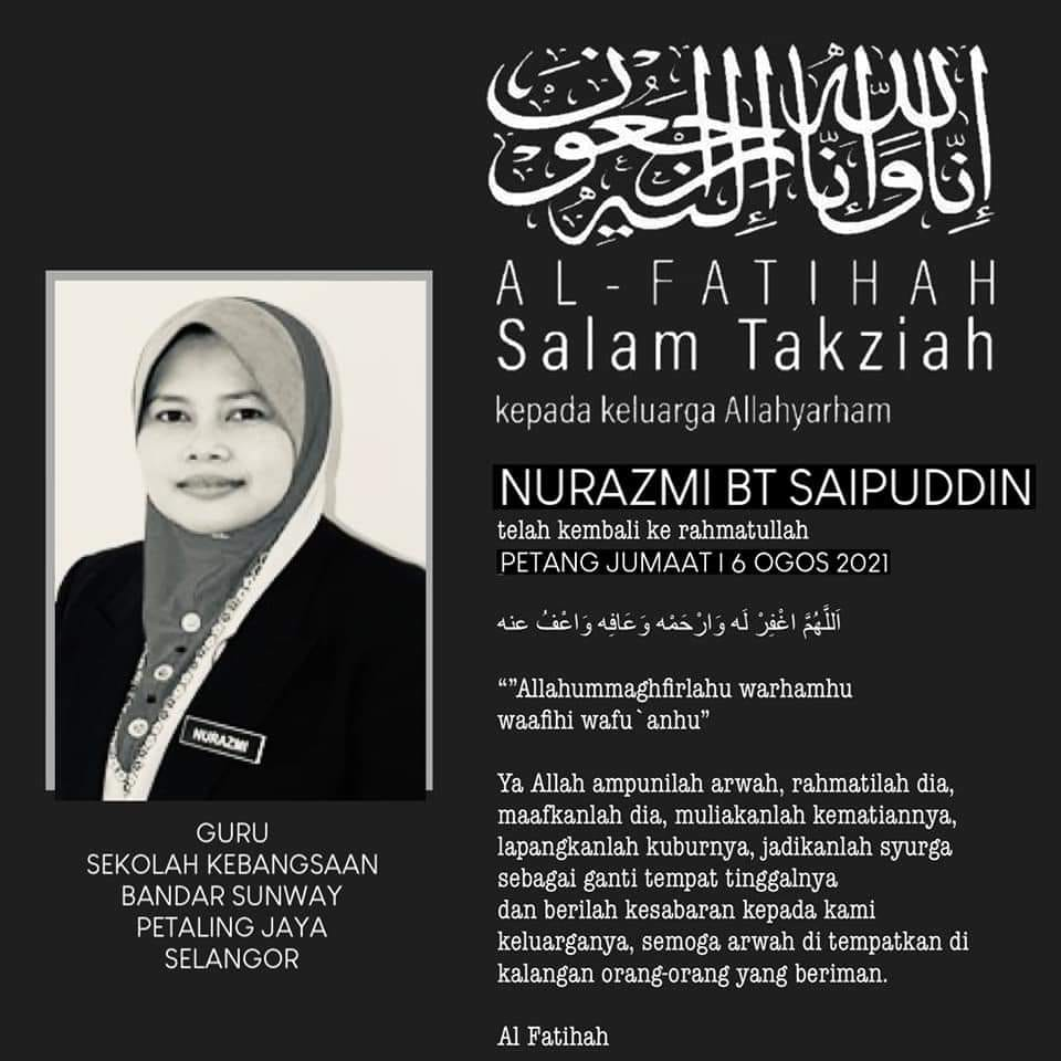 Condolences poster for Nurazmi Saipuddin. She is pictured in an official portrait, wearing a name tag.