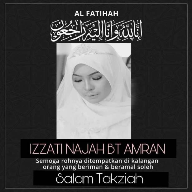 Condolences poster for Izzati Najah Bt Amran. She is pictured wearing a tiara on her wedding day.