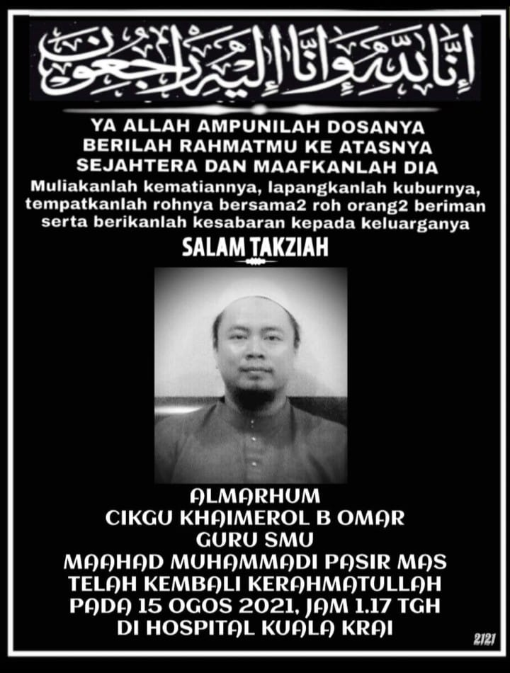 Death announcement for Cikgu Khaimerol B Omar. He is pictured in a white kopiah and baju melayu, and sporting a goatee.