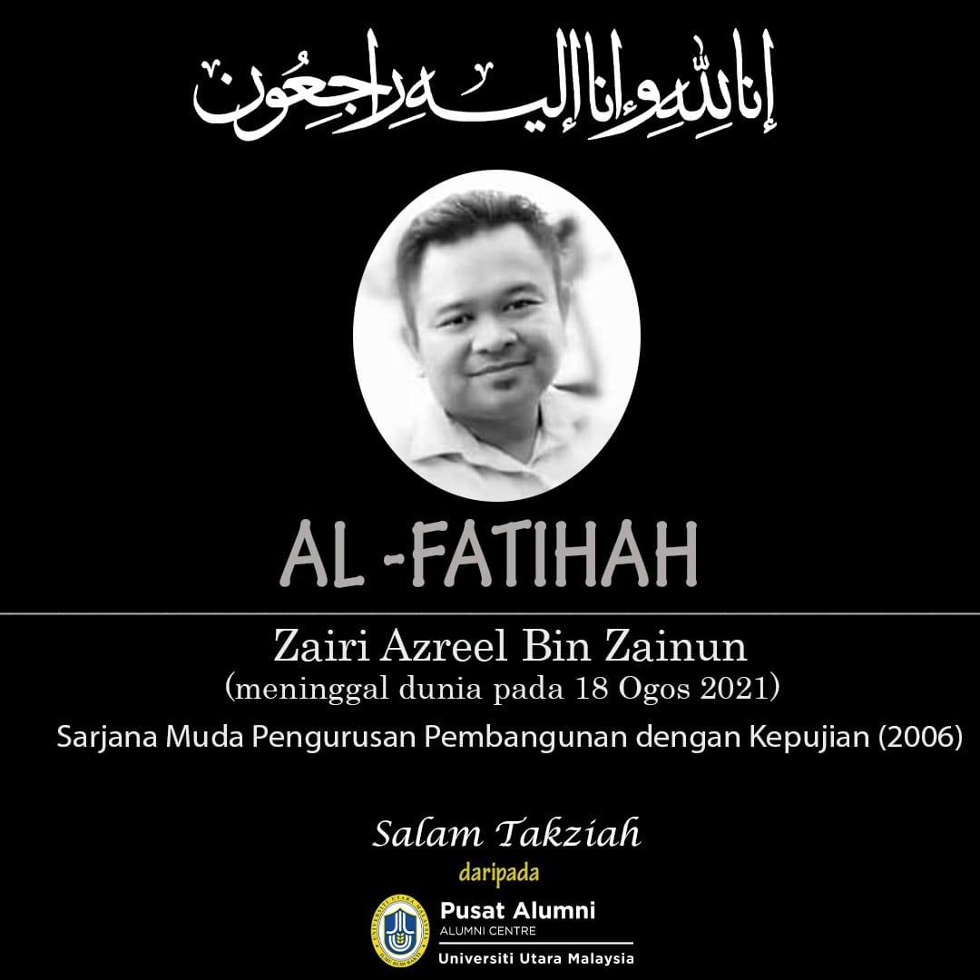 Condolence message for Zairi Azreel bin Zainun from Alumni Centre, Universiti Utara Malaysia