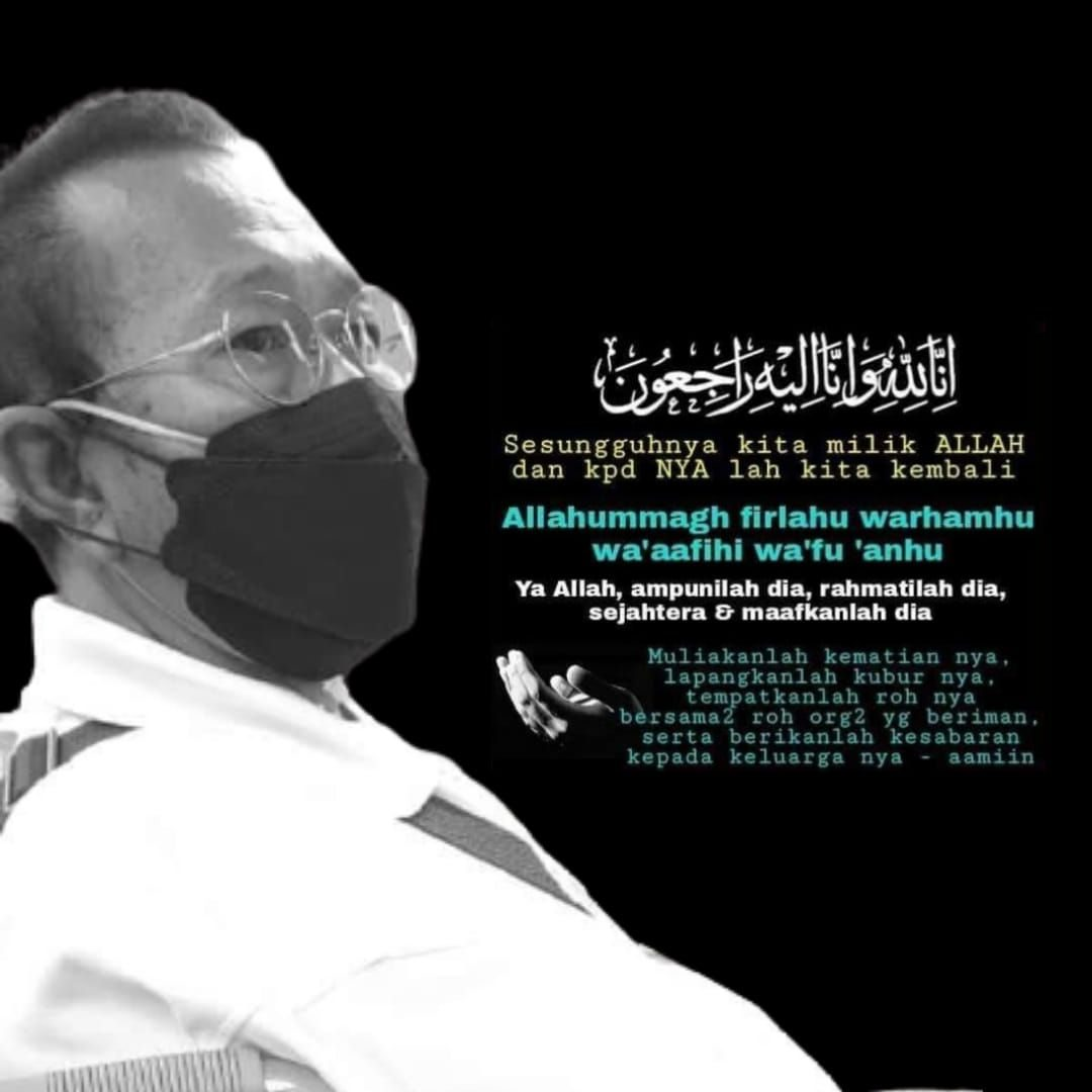 Condolences message for Mazlan Mokhtar. He is pictured wearing round framed glasses and a facemask.