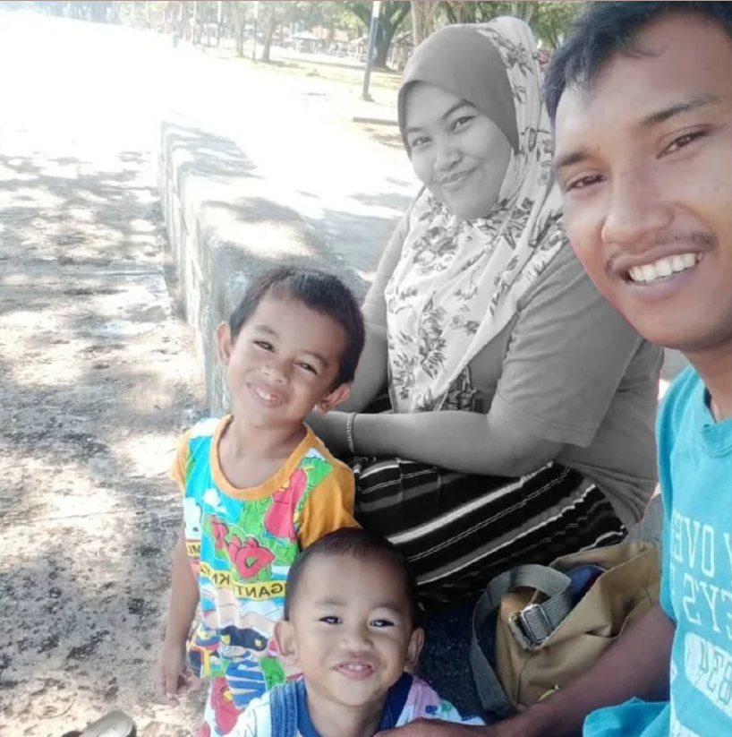 Umaisarah Azmi with her husband, Mohd Fadli Abd Wahab, and their two young children.