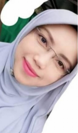 Azlinda binti Abd Hazez, 38. A pretty, fair-skinned woman with rimless glasses and pink lipstick and neat eyebrows, in a headscarf.