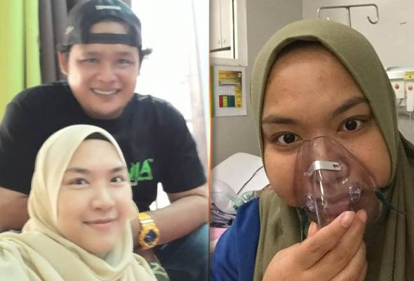 Siti faiqah Sulaiman with her husband and during hospitalised at Hospital Sungai Buloh.