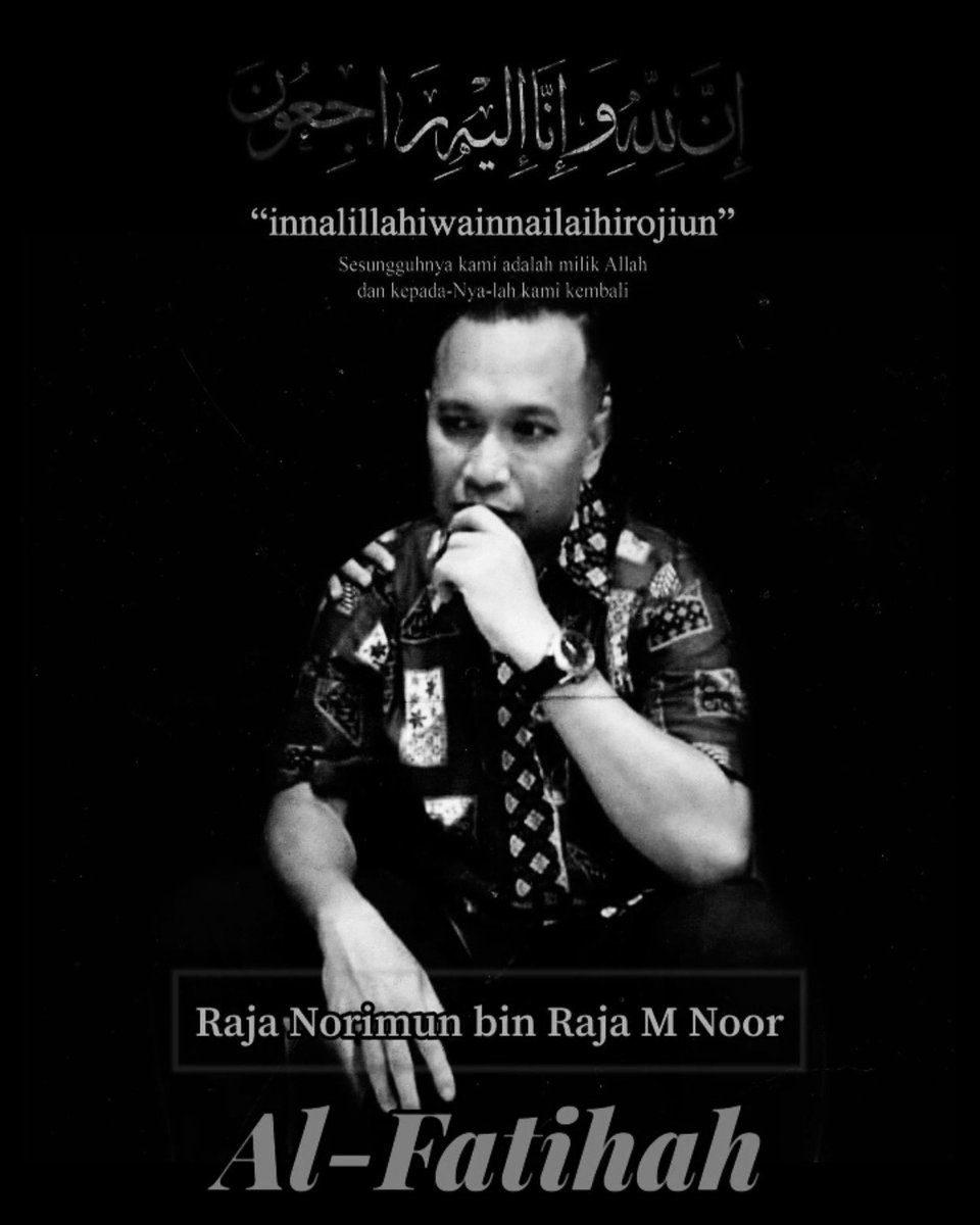 Condolences poster for Raja Norimun Raja M Noor. He is pictured looking pensive.