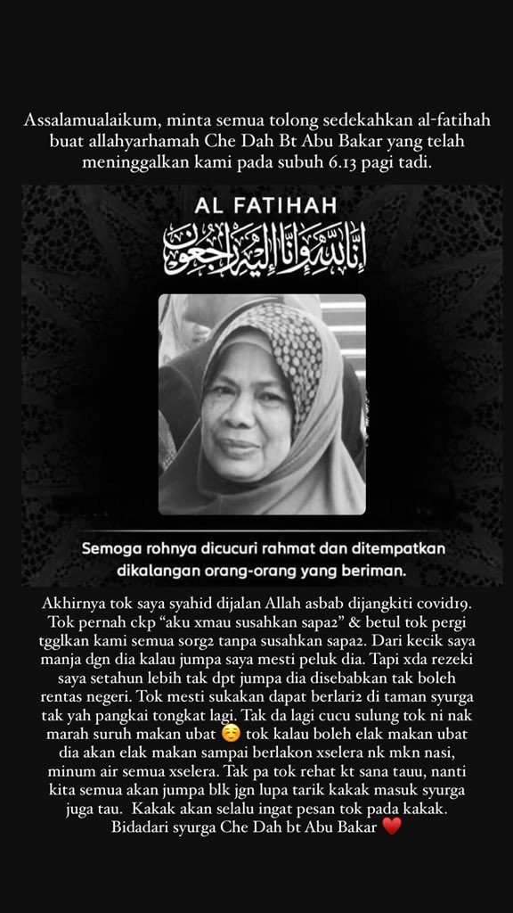 Death announcement for Che Dah Abu Bakar by her family members. She is pictured smiling.
