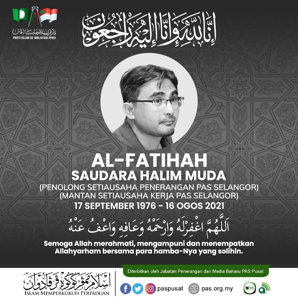 Photo of Abd Halim Muda @ Musa in a condolence message by PAS