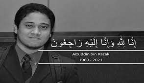 Portrait of Aizuddin bin Razak, pictured in smiling while wearing a business suit and carrying a back pack, in a condolence message