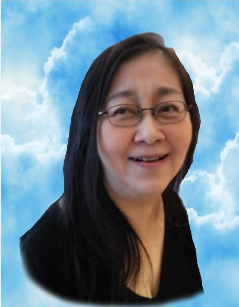 A smiling Lim Fung Yin is set against clouds with silver linings. She has long hair, which she wears loose, and is bespectacled.
