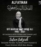 Condolences message for Siti Mariam Binti Mohd Ali by Batu Maung assemblyperson Abdul Halim Hussain.